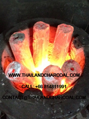 BBQ Charcoal Briquette burning